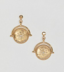 ASOS DESIGN Premium gold plated earrings with spinning coin with moon and Swarovski crystal star design - Gold
