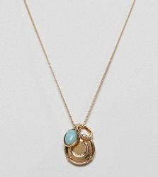 ASOS DESIGN Premium gold plated necklace with coin and semi-precious stone pendants - Gold