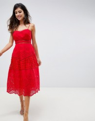 ASOS DESIGN premium lace broderie prom midi dress - Red