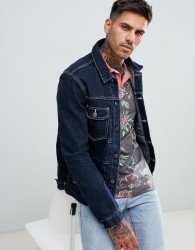 ASOS DESIGN raw denim jacket with white stitching - Blue