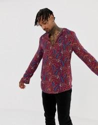 ASOS DESIGN regular fit overhead shirt in paisley print - Red