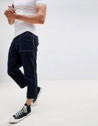 ASOS DESIGN relaxed cropped trousers in navy with white stitching - Navy