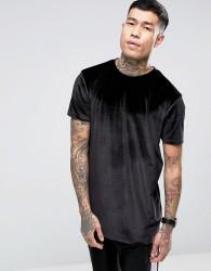 ASOS DESIGN relaxed longline t-shirt in velour in black - Black