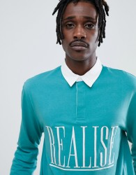 ASOS DESIGN relaxed rugby long sleeve polo with embroidered realise text - Green