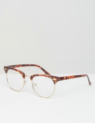 ASOS DESIGN retro clear lens glasses in tort - Brown