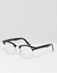 ASOS DESIGN retro glasses in black with clear lens - Black