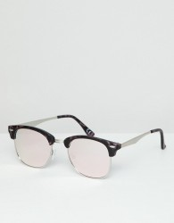 ASOS DESIGN retro in tort with pink mirror lens - Pink