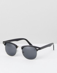 ASOS DESIGN retro sunglasses in black - Black