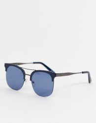 ASOS DESIGN retro sunglasses in navy with navy lens - Navy