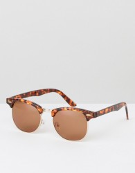 ASOS DESIGN retro sunglasses in tort - Brown