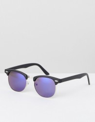 ASOS DESIGN retro sunglasses with blue mirror lens - Blue