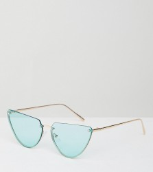 ASOS DESIGN Rimless Cat Eye fashion glasses With Cut Off Lens In Light Green Lens - Gold