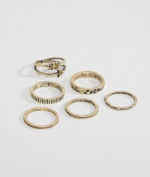 ASOS DESIGN Ring Pack In Burnished Gold With Arrow - Gold