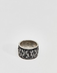 ASOS DESIGN Ring With Rope Emboss In Burnished Silver - Silver