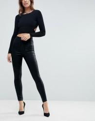 ASOS DESIGN Rivington high waist denim jeggings in black coated - Black