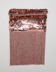 ASOS DESIGN rose gold sequin fringe clutch bag - Pink