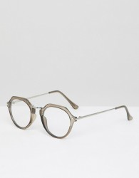 ASOS DESIGN round glasses in crystal grey - Grey