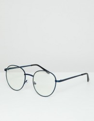 ASOS DESIGN round glasses in navy metal with clear lens - Navy