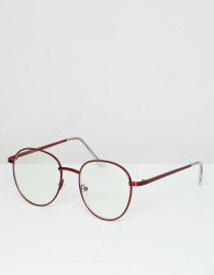 ASOS DESIGN round glasses in red metal with clear lens - Red
