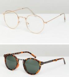 ASOS DESIGN round sunglasses 2pk in gold & tort SAVE - Gold