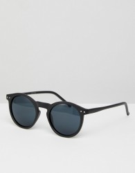 ASOS DESIGN round sunglasses in black - Black