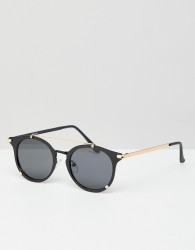 ASOS DESIGN Round Sunglasses In Black Metal With Gold Details - Black