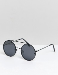 ASOS DESIGN round sunglasses in black metal with smoke laid on lens - Black