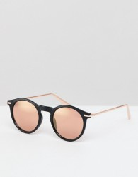 ASOS DESIGN round sunglasses in black with rose gold mirrored lens - Black