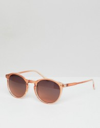 ASOS DESIGN round sunglasses in crystal pink face with smoke lens - Pink