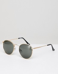 ASOS DESIGN round sunglasses in gold with nose bridge detail - Gold