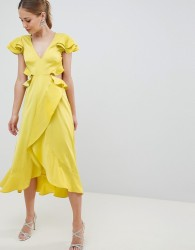 ASOS DESIGN Ruffle Midi Dress In Rippled Satin With Cut Out Back - Yellow