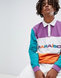 ASOS DESIGN rugby long sleeve polo shirt with colour block panels and paraiso embroidery - White