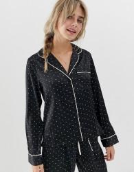 ASOS DESIGN satin spot pyjama shirt - Black