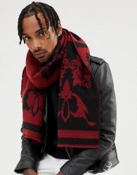 ASOS DESIGN scarf black & burgundy jacquard - Black