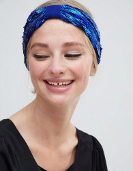 ASOS DESIGN sequin headband in blue - Blue