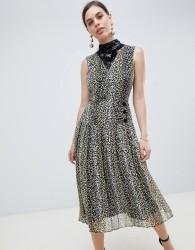 ASOS DESIGN sequin mix leopard print pleated midi dress - Multi