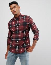 ASOS DESIGN skinny check shirt in burgundy - Red