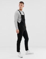 ASOS DESIGN skinny dungarees in black - Black
