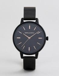 ASOS DESIGN skinny mesh watch in black with rose gold highlights - Black