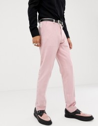 ASOS DESIGN skinny suit trousers in pink faux suede with western embroidery - Pink