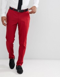 ASOS DESIGN Skinny Suit Trousers In Scarlet Red - Red