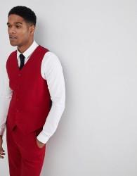 ASOS DESIGN Skinny Suit Waistcoat In Scarlet Red - Red