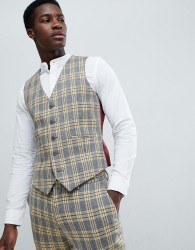 ASOS DESIGN Skinny Suit Waistcoat In Yellow Tartan Check - Yellow