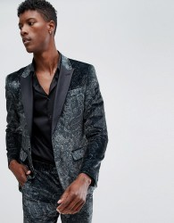 ASOS DESIGN skinny tuxedo suit jacket in forest green paisley print - Green