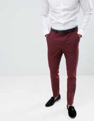 ASOS DESIGN skinny tuxedo suit trousers in burgundy - Red