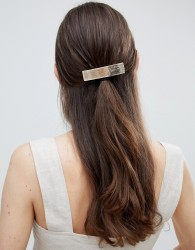 ASOS DESIGN sleek barette hair clip in brushed gold - Gold