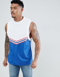 ASOS DESIGN sleeveless t-shirt with dropped armhole and chevron colour block in polytricot - White