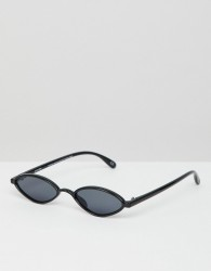ASOS DESIGN slim oval sunglasses - Black
