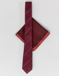 ASOS DESIGN slim textured tie with red border pocket square - Red