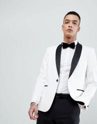 ASOS DESIGN slim tuxedo suit jacket in white with black contrast lapel - White